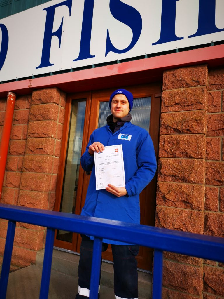 Boris with certificate - Scottish Seafood Association